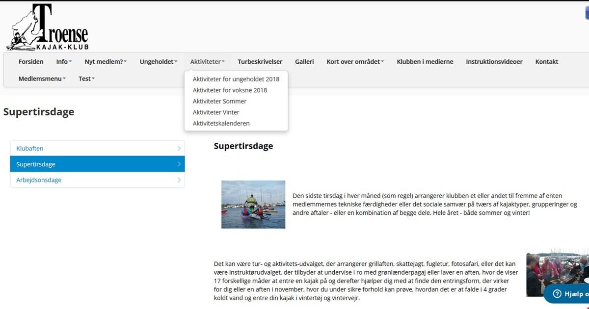 Hjemmeside - Menupunktet Aktiviteter renoveret...