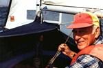"""Foto Dick Harrington fra USA på vej fra Malø til Oslo i W 1348 """"Maitken"""""""