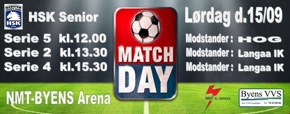 MATCH DAY på lørdag 15. september på NMT-BYENS Arena